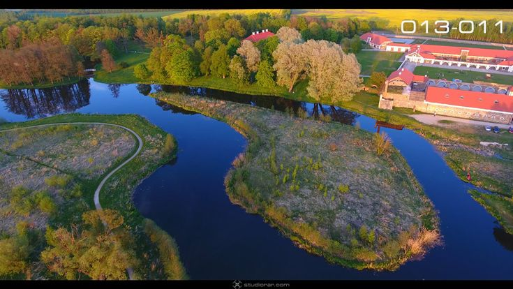 Manor countryside with tall trees and green lawns – Drone Aerial Photography, ...
