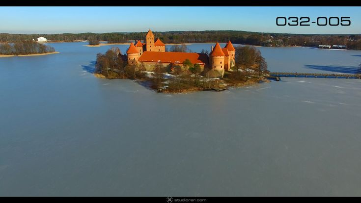 Medieval Gothic Island Castle In Winter Time – Drone Aerial Photography, Video...