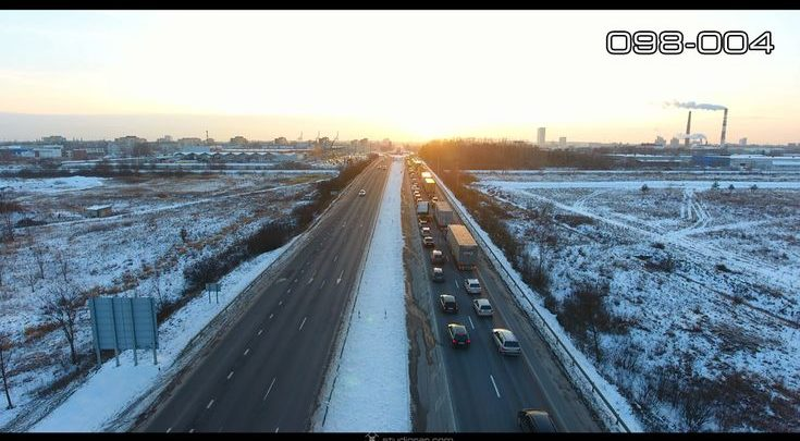 Aerial photography drone : Klaipeda city highway traffic