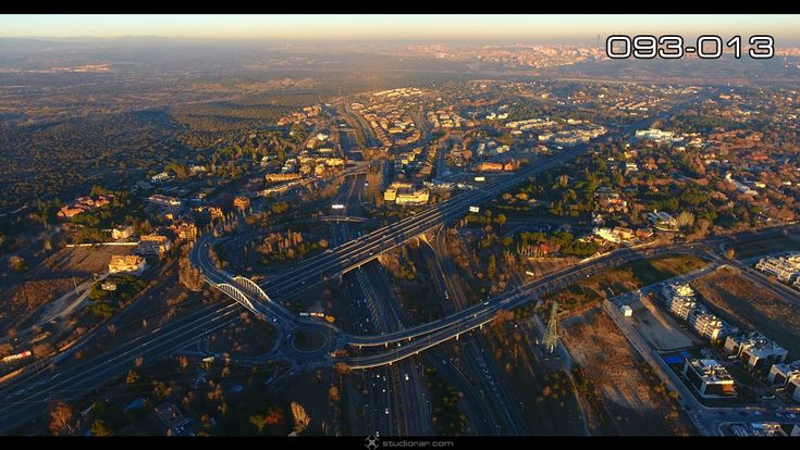 Madrid city highway and residential areas at day – Drone Aerial Photography, V...