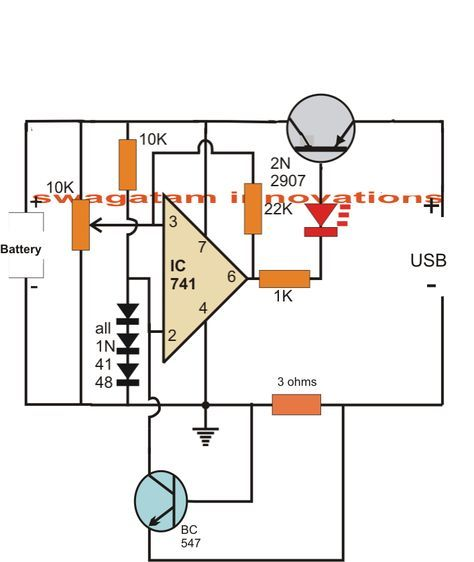 USB Li-Ion Battery Charger Circuit - Auto-Cut off and Current Controlled   Homem...
