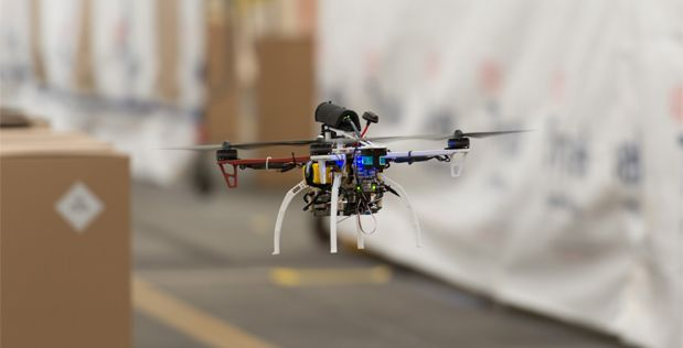 A FLA quadcopter self-navigates around boxes during initial flight data collecti...