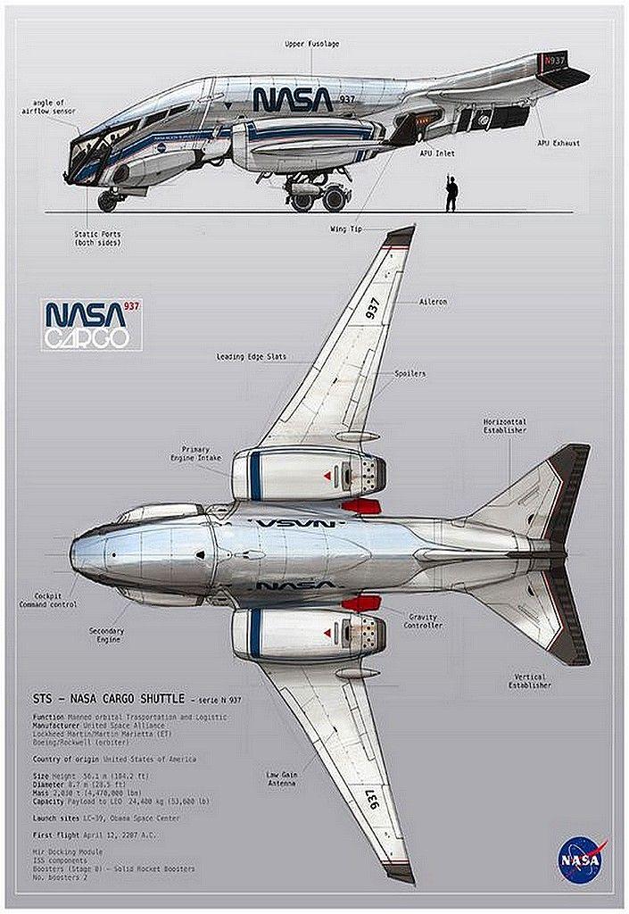 Awesome Aircraft, n-a-s-a: Nasa Cargo Shuttle Concept art by Oscar...