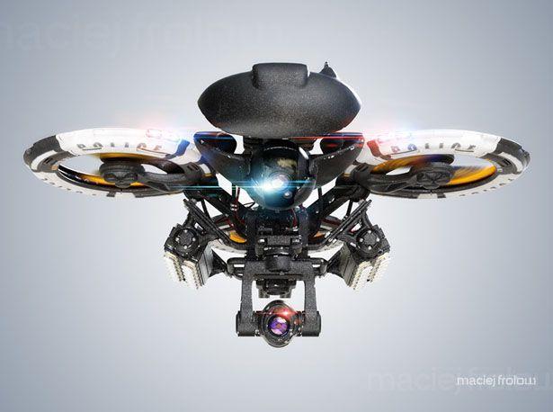 Futuristic Police Heavy Drone by Maciej Frolow