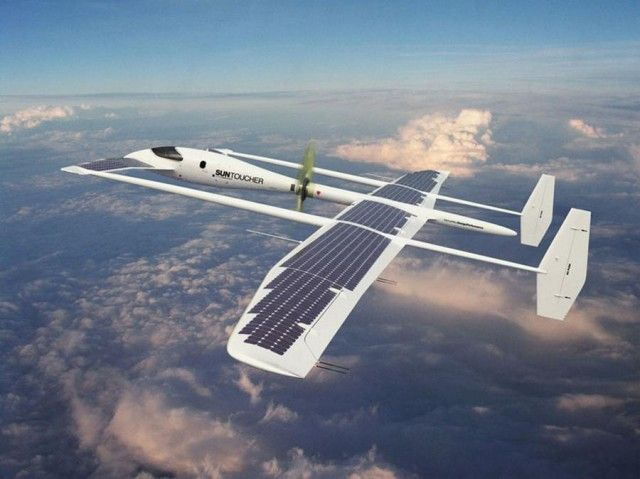 Solar powered plane/glider. AWESOME. During the day, it's always sunny above...