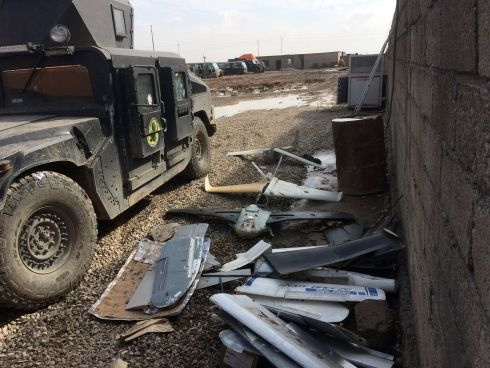 The remains of homemade Islamic State drones captured by Iraqi special forces in...