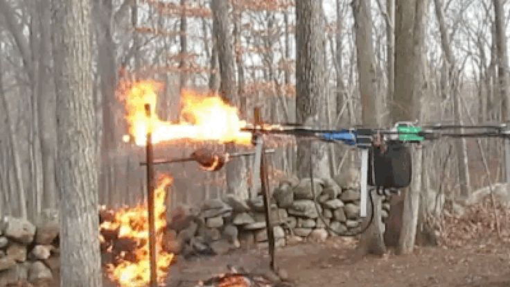 The teen behind the drone gun now has a drone-mounted flamethrower