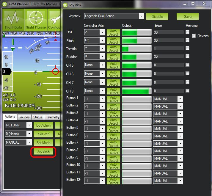ArduCopter allows you to fly with a computer joystick sending commands via 3DR r...