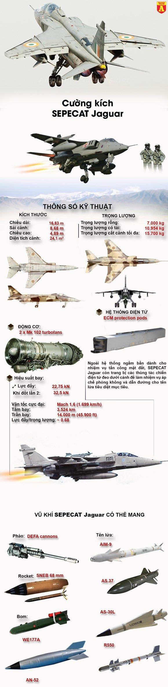 Cường kích đa nhiệm Jaguar của không quân Ấn Độ.