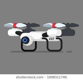 Vector Illustration with drone quadrocopter. Cartoon flat style. Element for ill...