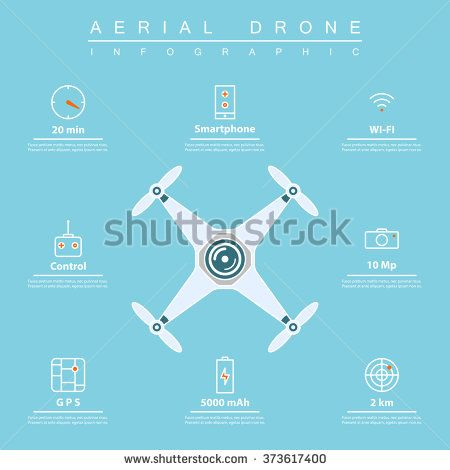 air drone infographic. thin line icons of drone feature: flight time, smartphone...