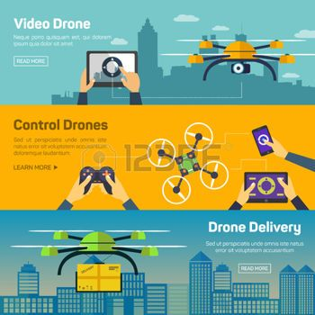 delivery drone: Set of drone banners - shipping, surveillance, control. Drone ho...