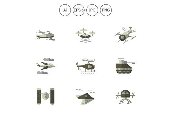 Military drones flat icons. Set 1 by YershovOleksandr on Creative Market