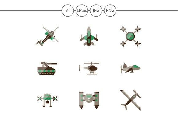 Military drones flat icons. Set 3