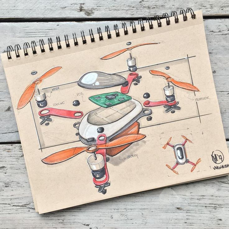 //167. Kicking off inktober in style with an exploded view of this swift drone. ...