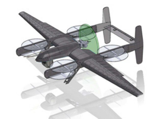 Latitude Engineering's Hybrid Quadcopter UAS has the extended air endurance of a...