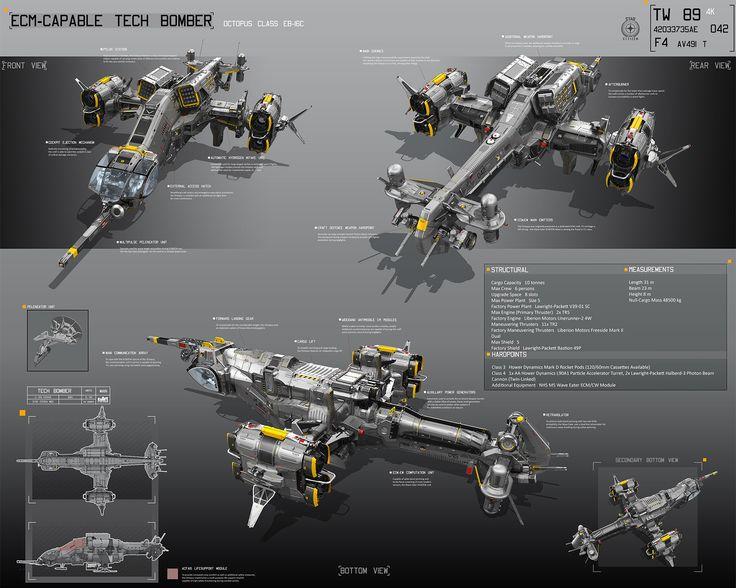 concept ships: ECM-Capable tech bomber by Alexey Pyatov