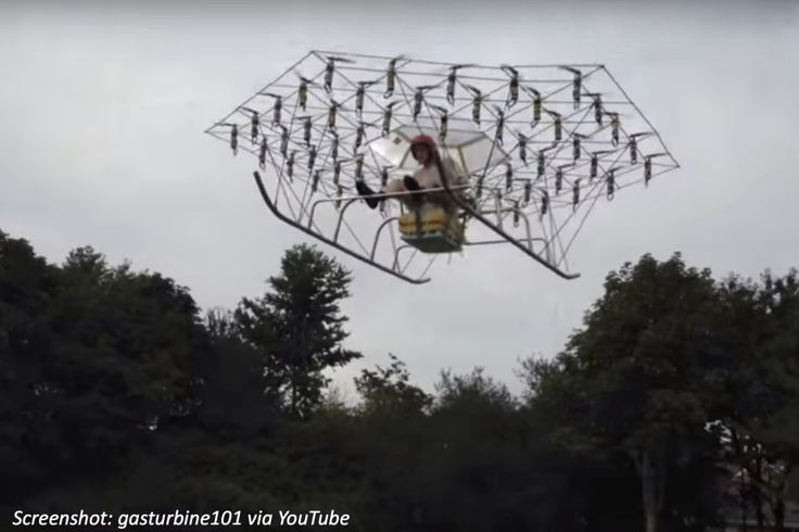 Watch one man lift off with a homemade helicopter in this wacky math story!