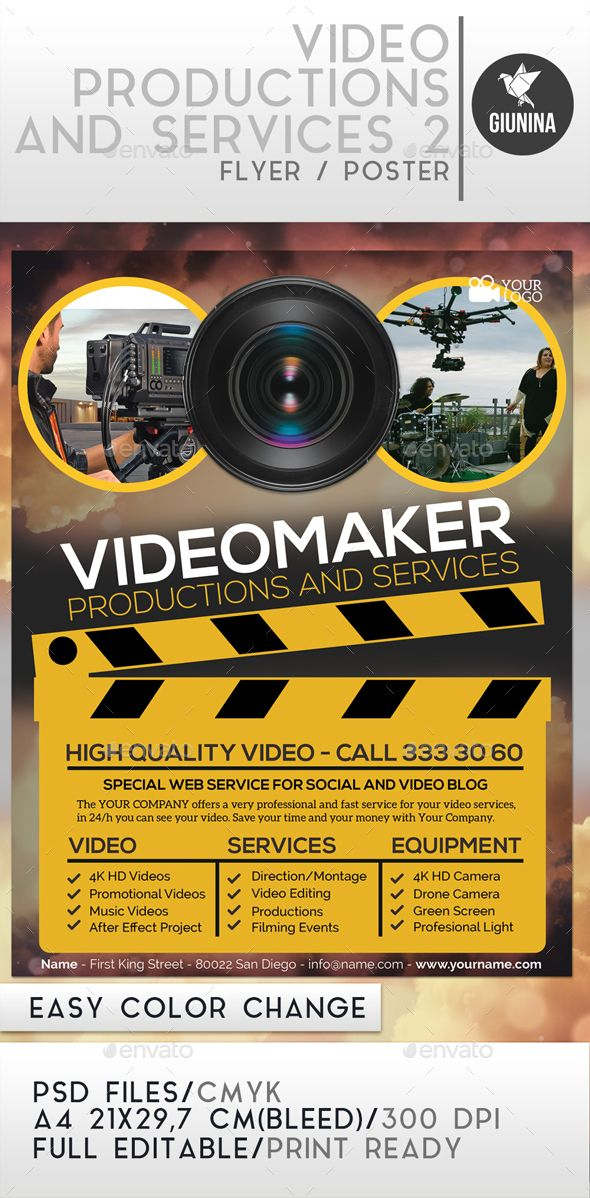 Drone Infographics : Video Production And Services 2 Flyer/Poster