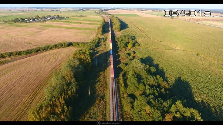 Aerial photography drone : Cargo train transporting wagons  Drone Aerial Photogr...