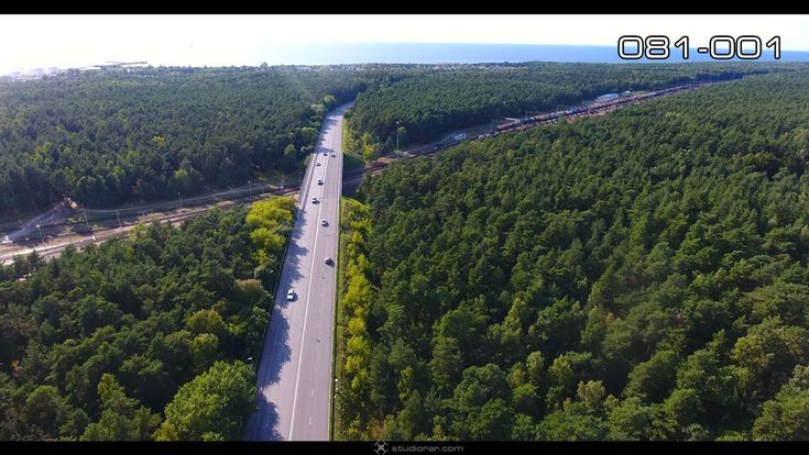 Aerial photography drone : The road through the green forest  Drone Aerial Photo...