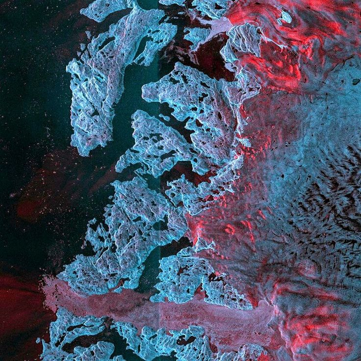 Glacier Jakobshavn in Greenland as seen from satellite images from the earth-obs...