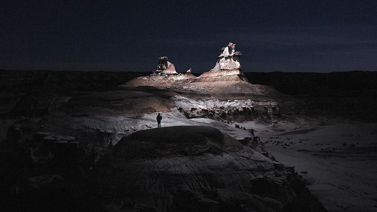 The Alien Magic Of The Desert At Night, Lit By A Drone