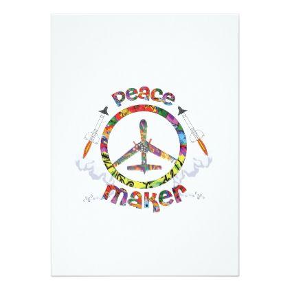 Peace Maker hippie military drone funny Card - invitations custom unique diy per...