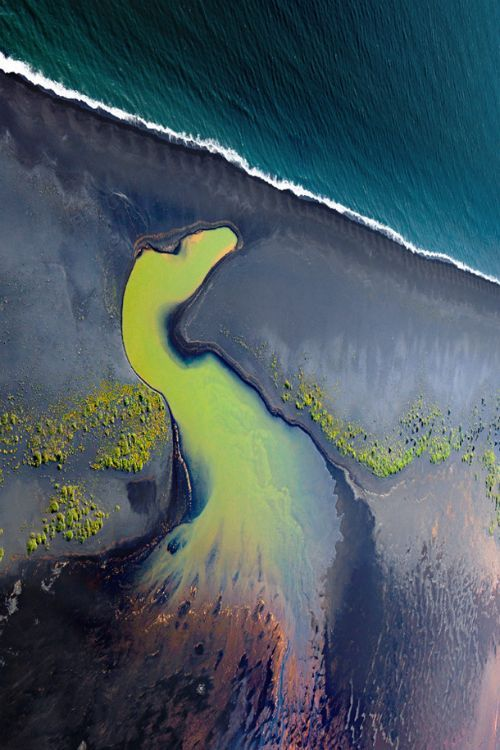 expressions-of-nature: The Peacock / Aerial view of south coast rivers, Iceland....