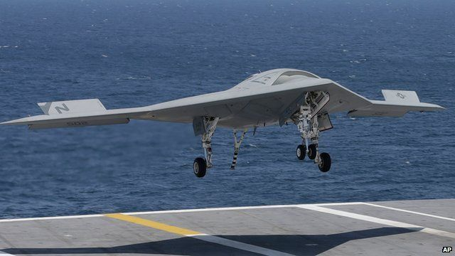 Military Drone: BBC News  US unmanned drone jet makes first carrier landing