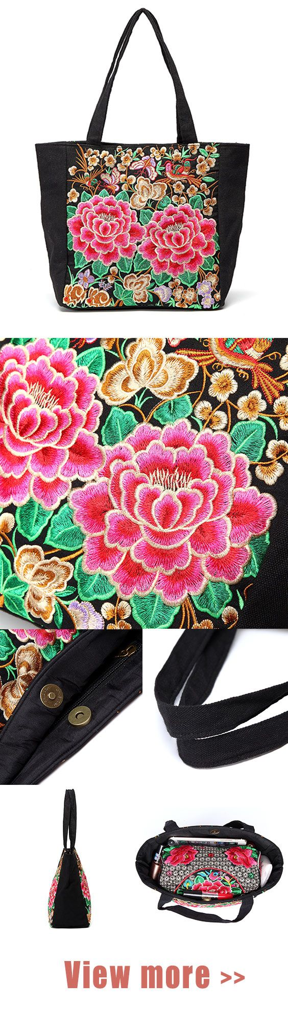 Women Ethnic Embroidery Flowers Vintage Canvas Handbag Casual Clutch Bags 2 Pcs#...