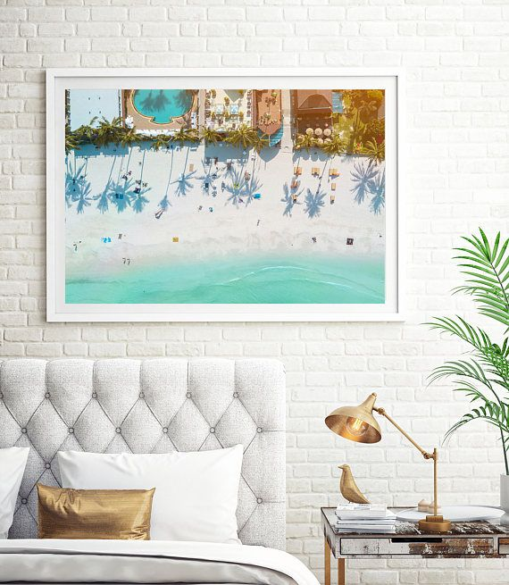 Beach Print, Ocean Water Wall Art, Aerial people Beach, Coastal Decor, Drone Beach, Digital Download, Printable Large Poster, #245