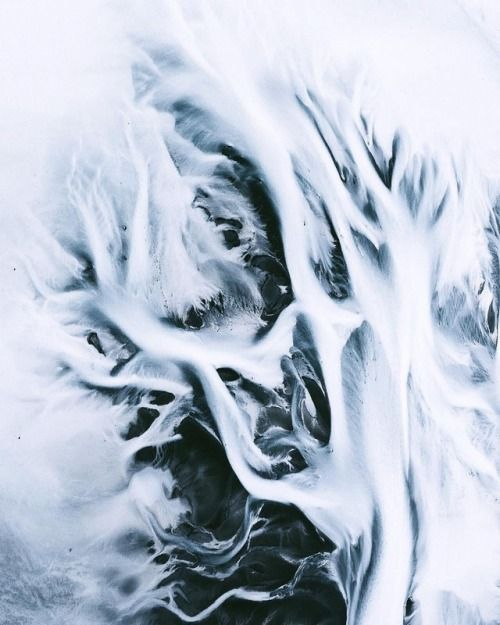 The earth exhales its icy breath. @airpixels  Glacial Rivers...