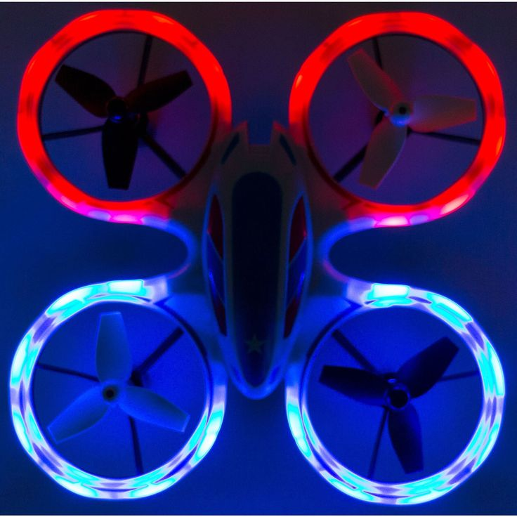 RC Mini LED Stunt Drone Quadcopter Red, Blue Sky Patroller w/ 360 Flip: Crash Proof, 2.4GHz, 4 CH, American