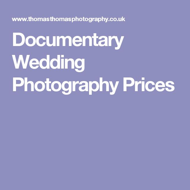Documentary Wedding Photography Prices