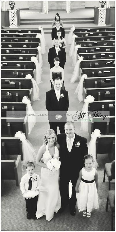 Such a unique angle for the wedding party photo! SO COOL, Could take the picture from the balcony at church! #dronephotographyideas