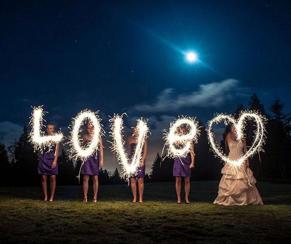 Under the moonlight, a bride and her bridesmaids spell love to create a fantastic sparkler photograph. #dronephotoshoot