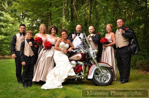 Harley Davidson with bridal party  www.menningphotographic.com
