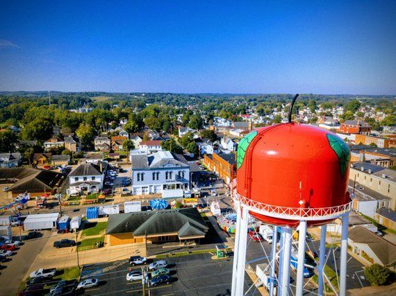 Apple Water Tower Photograph, Small Town USA, City Prints, Ohio Photograph, Aerial Photography, Amer