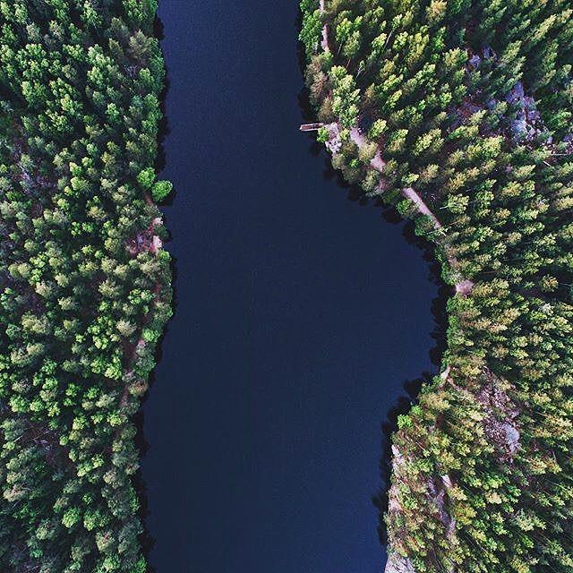 River in Espoo, Finland // Photo by @jannehonkaniemi #fromwhereidrone