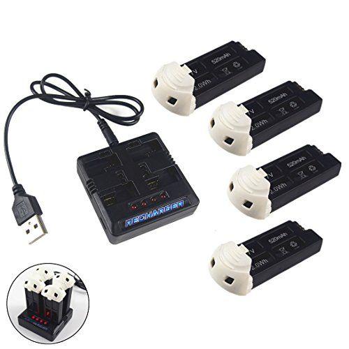 Wwman cargador de batería de 1 a 4 y 4 x 520mAh batería para Hubsan X4 H107D P...