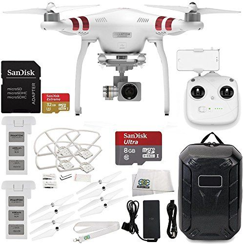 DJI Phantom 3 Standard with 2.7K Camera and 3-Axis Gimbal & Manufacturer Accessories + Extra DJI Battery + Water-Resistant Hardshell Backpack + MORE