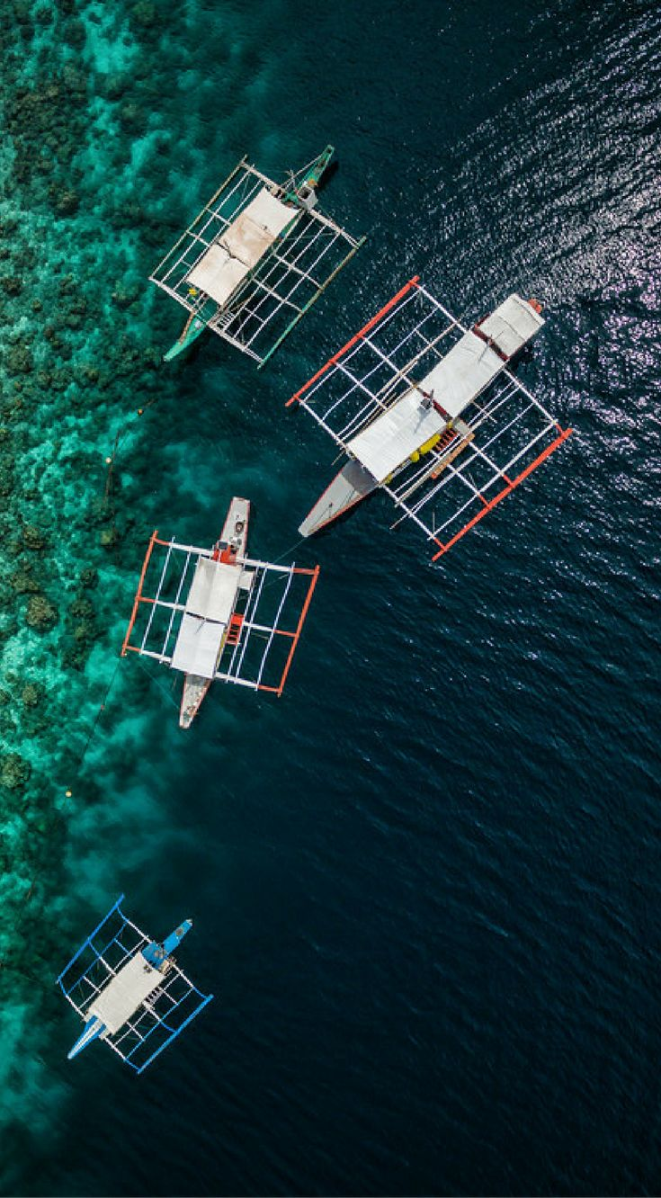 Drone views of boats in the Philippines. This collection of drone photos of the ...