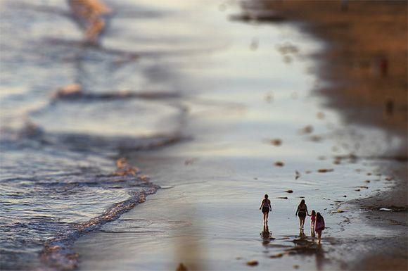 Paysage, plage, voyage, tilt shift