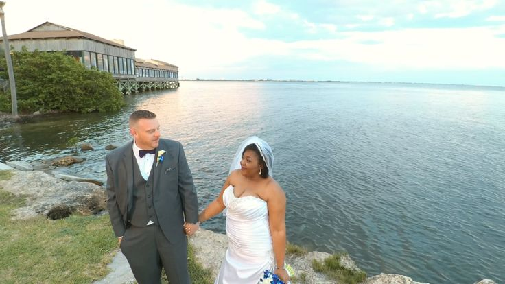 Shot by drone at Rusty Pelican by Tampa Wedding Photographers Celebrations of Ta...