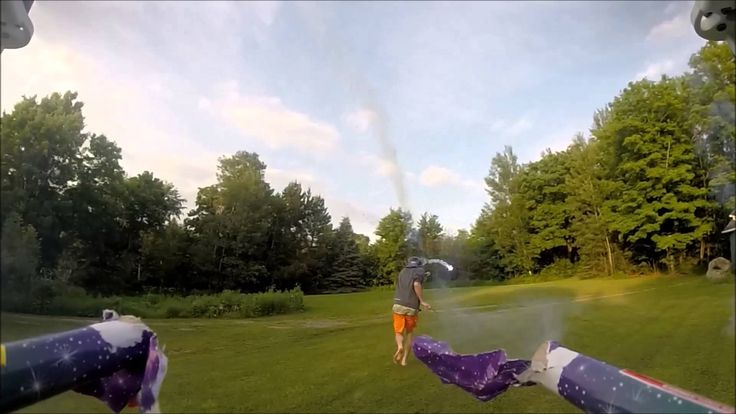 First-Person 'Gun Cam' Video From a Drone Armed With Roman Candle Fireworks