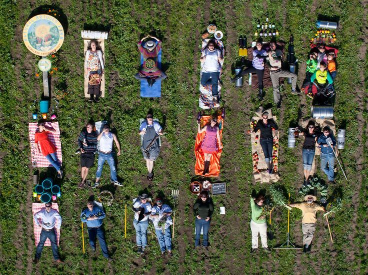 People Drone Photography : An aerial photo of Santa Cruz-area food and drink makers. Photo credit: Andrea Blum of My American Pantry and Kenny Blum Photography.