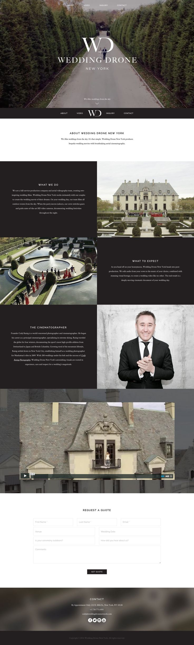 Solid landing page promoting a niche wedding drone photography service based in New York. Excellent intro video followed by a perfect amount of content and imagery within the One Pager. Cheers for the build notes!