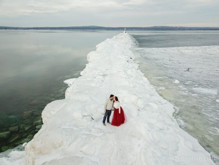 Wedding drone photography : Northern Michigan Winter Engagement Petoskey Photography Sarah Jay