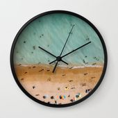 People On Algarve Beach In Portugal, Drone Photography, Aerial Photo, Ocean Wall Art Print Wall Clock by Art My House - Black - Black